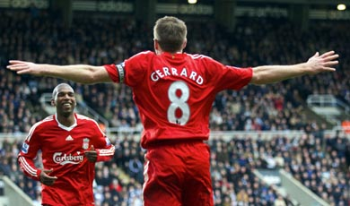 Gerrard scores against Newcastle